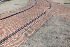 Bending tram rails. On the street a sunny summer Royalty Free Stock Image