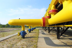 Bends and connections of gas pipelines Royalty Free Stock Photography