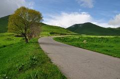 Bends of road in countryside of Armenia Royalty Free Stock Images