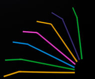 Bendy plastic drinking straws on black Royalty Free Stock Images