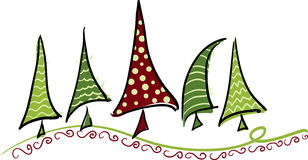 Bendy trees. Cheery vector christmas trees bending with swirly border Royalty Free Stock Photography