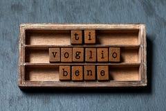 Bene de voglio de Ti Je t'aime écrit dans la traduction italienne Boîte de vintage, expression en bois de cubes avec des lettres  Photographie stock libre de droits