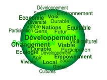 Bene durevole di Développement - mots del DES di nuage Fotografie Stock Libere da Diritti