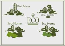 Bene immobile, icone, casa di eco. Fotografia Stock