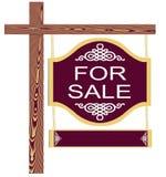 Bene immobile operato isolato da vendere il segno con legno Fotografia Stock Libera da Diritti