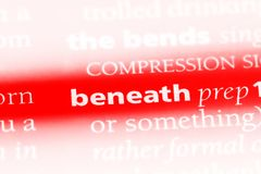 Beneath. Word in a dictionary.  concept Stock Image
