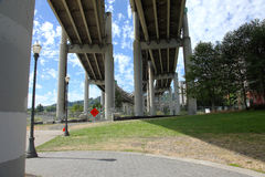 Beneath a freeway in Portland Oregon. Stock Image