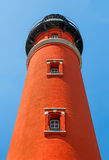 Beneath Ponce Inlet Light. The brilliant red Ponce de Leon Inlet Lighthouse, south of Daytona Beach, Florida, is viewed from below looking up Stock Images