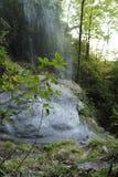 Beneath the Waterfall in the North Carolina Mountains Stock Photo