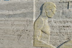 benedetto被雕刻的del greetings圣tronto 免版税库存照片