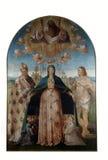 Benedetto戴安娜:基督徒玛丹娜帮助有图卢兹和圣巴斯弟盎圣路易的  图库摄影
