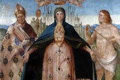 Benedetto戴安娜:基督徒玛丹娜帮助有图卢兹和圣巴斯弟盎圣路易的  免版税库存图片