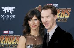 Benedict Cumberbatch and Sophie Hunter. At the premiere of Disney and Marvel`s `Avengers: Infinity War` held at the El Capitan Theatre in Hollywood, USA on Royalty Free Stock Image