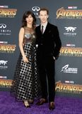 Benedict Cumberbatch and Sophie Hunter. At the premiere of Disney and Marvel`s `Avengers: Infinity War` held at the El Capitan Theatre in Hollywood, USA on stock photography
