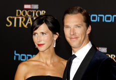 Benedict Cumberbatch and Sophie Hunter. At the World premiere of 'Doctor Strange' held at the El Capitan Theatre in Hollywood, USA on October 20, 2016 Royalty Free Stock Photography