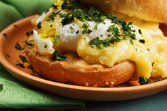 Benedict egg closeup Royalty Free Stock Photos