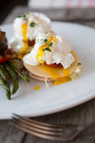 Benedict eggs with asparagus Royalty Free Stock Photography