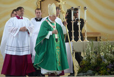 Benedict XVI celebrate a mass Stock Photo