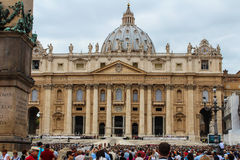 Benedict XVI. The general audience in St. Peter's Square. Vatican. Saint Peter's Square is among most popular pilgrimage sites for Roman Catholics Stock Photography