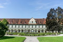 Baroque monastery. Benedictbeuern monastery in Bavaria, Germany with fountains and green areas Stock Images