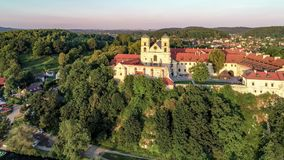 Benedictine abbey and church in Tyniec near Krakow, Poland, and Vistula River stock footage