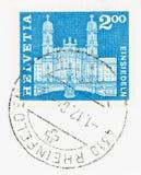 Benedictine Abbey Graphic på stämpel royaltyfri bild