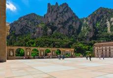 Benedictine abbey Santa Maria de Montserrat, which hosts the Virgin of Montserrat sanctuary near Barcelon Royalty Free Stock Image