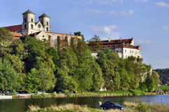 Benedictine abbey in Tyniec, Krakow, Poland. Benedictine monastery and Saint Peter and Paul church on the rocky hill by the Vistula river in Tyniec near Cracow royalty free stock image