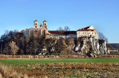 Benedictine abbey in Tyniec, Krakow, Poland. Benedictine monastery and Saint Peter and Paul church on the rocky hill by the Vistula river in Tyniec near Cracow stock images