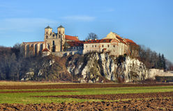 Benedictine abbey in Tyniec, Krakow, Poland. Benedictine monastery and Saint Peter and Paul church on the rocky hill by the Vistula river in Tyniec near Cracow Stock Photography