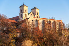 Benedictine abbey in Tyniec, Krakow, Poland. Benedictine monastery and Saint Peter and Paul church in Tyniec near Cracow, Poland, in fall at sunset royalty free stock image