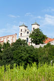 The Benedictine Abbey in Tyniec in Poland on blue sky background Stock Photos