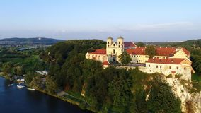 Benedictine abbey in Tyniec and Vistula River, Krakow, Poland stock footage