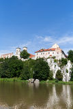 The Benedictine Abbey in Tyniec with wisla river on blue sky background Royalty Free Stock Photography
