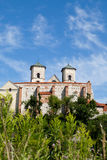 The Benedictine Abbey in Tyniec with wisla river on blue sky background Royalty Free Stock Photo