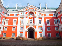 Benedictine Monastery in Broumov. Main courtyard with entrance gate. Czech Republic.  Royalty Free Stock Photos