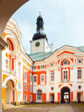Benedictine Monastery in Broumov. Main courtyard with entrance gate. Czech Republic.  Stock Photos