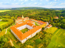 Benedictine monastery in Kladruby. Aerial view of Benedictine monastery in Kladruby founded in 1115. Was renovated, construction was terminated at the 17th Stock Photo
