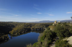 Benedictine monastery of Sant Pere de Casserres, Masies de Roda, Osona, Barcelona province,Catalonia, Spain Stock Photo