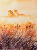 Monastery at sunrise watercolors painted. stock photography