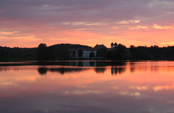 Benedictine monastery with twin spires, water reflection, in the Royalty Free Stock Photo