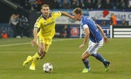 Benedikt Höwedes and Branislav Ivanović FC Schalke v FC Chelsea 8eme Final Champion League Stock Image