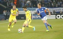 Benedikt Höwedes and Cesc Fabregas FC Schalke v FC Chelsea 8eme Final Champion League Royalty Free Stock Images