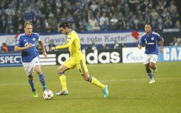 Benedikt Höwedes and Cesc Fabregas FC Schalke v FC Chelsea 8eme Final Champion League Royalty Free Stock Image