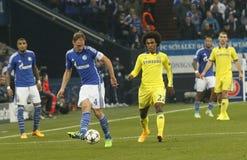 Benedikt Höwedes and William FC Schalke v FC Chelsea 8eme Final Champion League Royalty Free Stock Photo