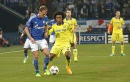 Benedikt Höwedes and William FC Schalke v FC Chelsea 8eme Final Champion League Royalty Free Stock Photography