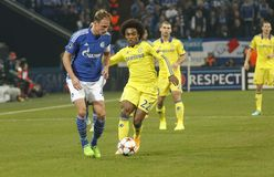 Benedikt Höwedes and William FC Schalke v FC Chelsea 8eme Final Champion League Stock Image