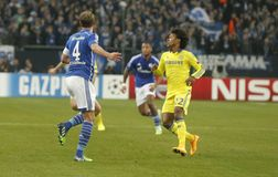 Benedikt Höwedes and William FC Schalke v FC Chelsea 8eme Final Champion League Royalty Free Stock Photo