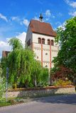 Benediktiner-Kirche von St Mary und von Kennzeichen in Reichenau-Insel Stockbild