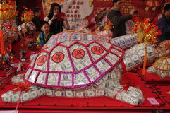 Benedizione cinese del nuovo anno in Taiwan. (tartaruga dei soldi) Fotografia Stock Libera da Diritti